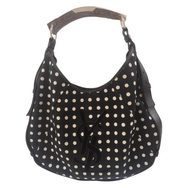 Yves Saint Laurent Mombasa Black and white pois shoulder bag For Sale