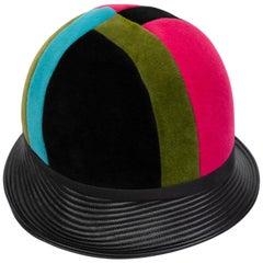 Yves Saint Laurent Mondrian Color Block Helmet Hat