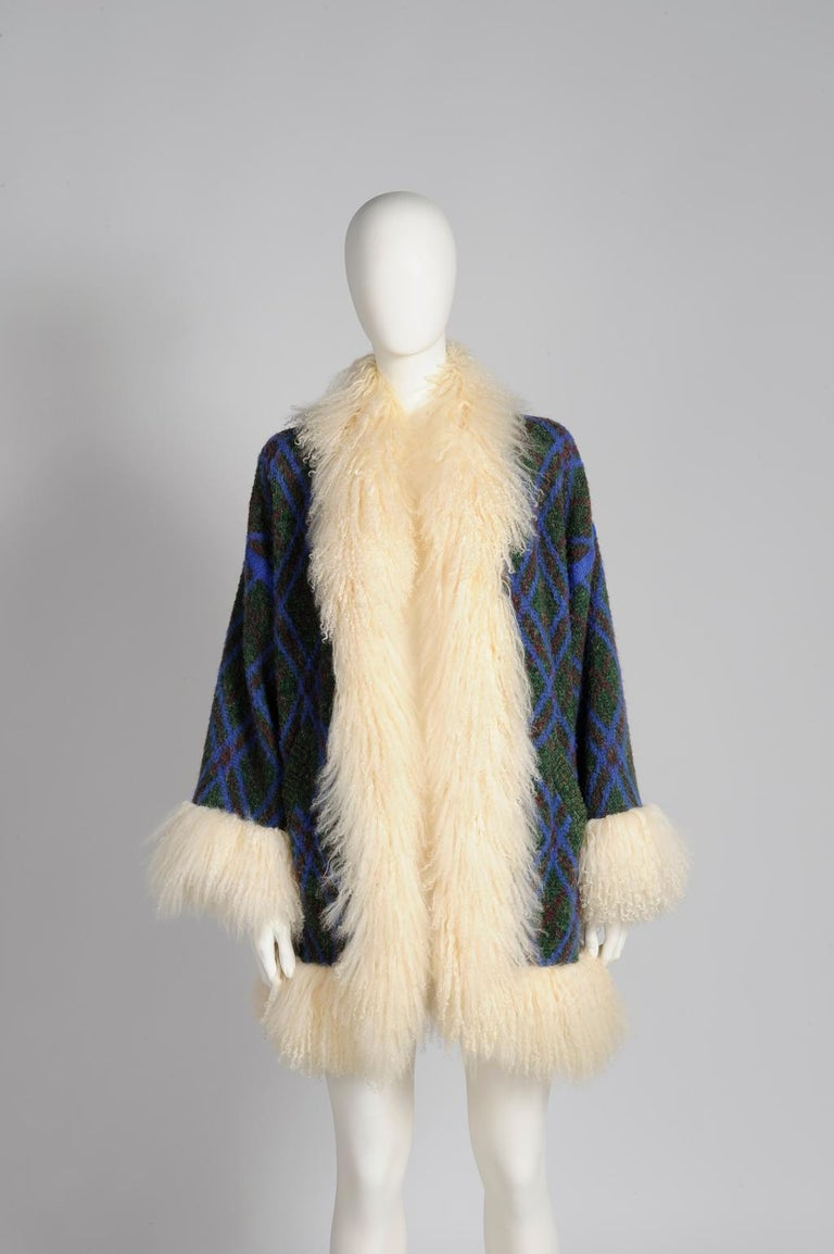 Beige Yves Saint Laurent Mongolian Sheep Fur-Trimmed Knit Cardigan Coat For Sale
