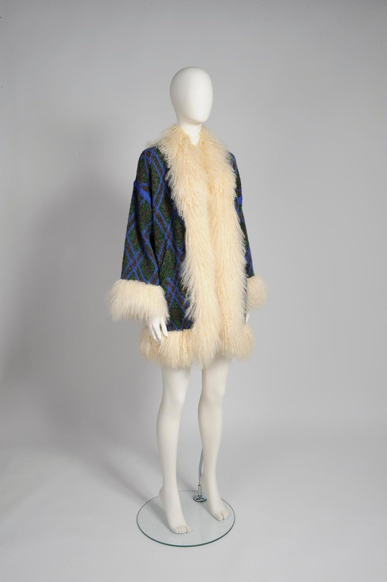 Women's Yves Saint Laurent Mongolian Sheep Fur-Trimmed Knit Cardigan Coat For Sale