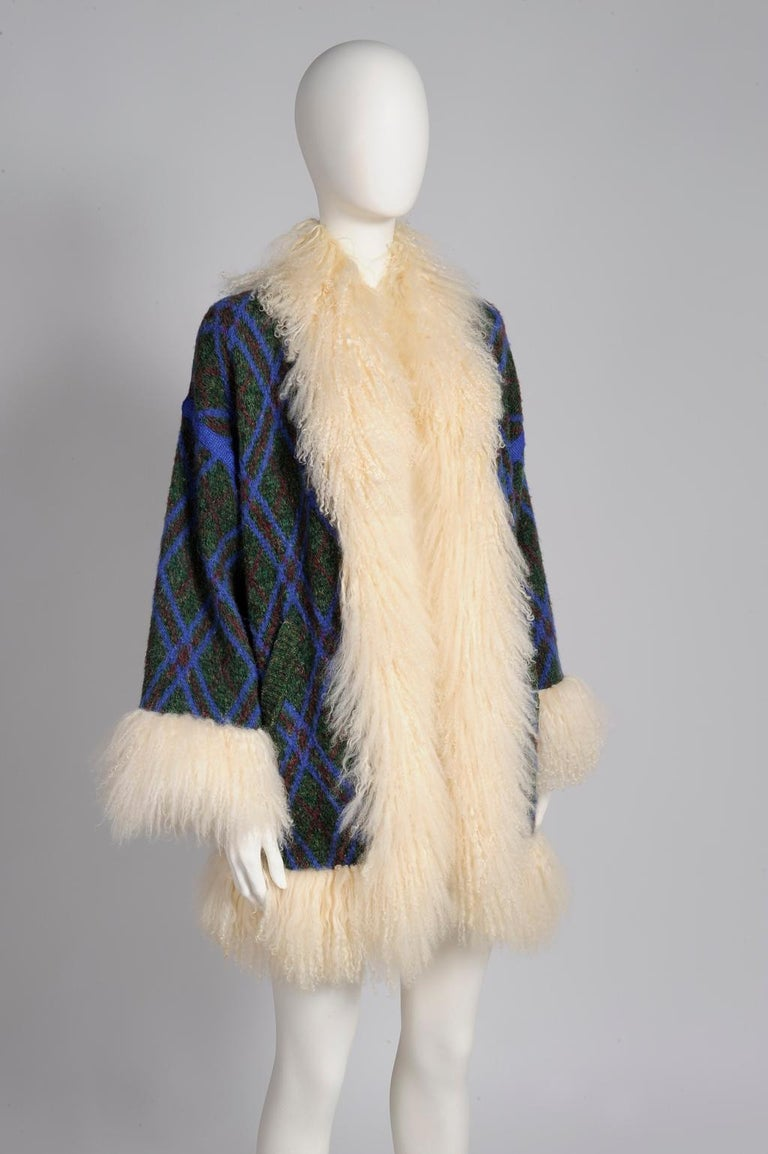 Yves Saint Laurent Mongolian Sheep Fur-Trimmed Knit Cardigan Coat For Sale 1