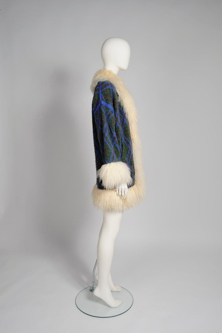 Yves Saint Laurent Mongolian Sheep Fur-Trimmed Knit Cardigan Coat For Sale 2