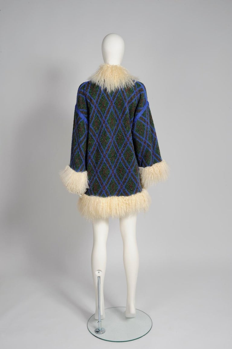 Yves Saint Laurent Mongolian Sheep Fur-Trimmed Knit Cardigan Coat For Sale 3