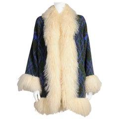 Yves Saint Laurent Mongolian Sheep Fur-Trimmed Knit Cardigan Coat