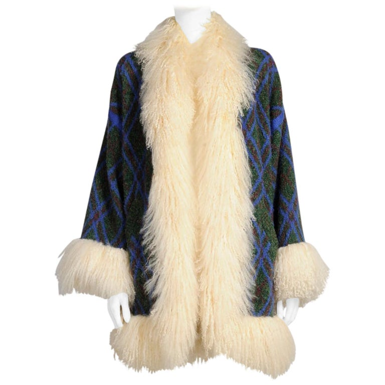 Yves Saint Laurent Mongolian Sheep Fur-Trimmed Knit Cardigan Coat For Sale
