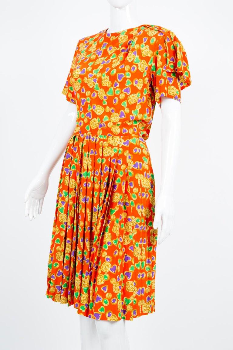Women's Yves Saint Laurent Multico Jewel Silk Dress Catwalk 1993s  For Sale