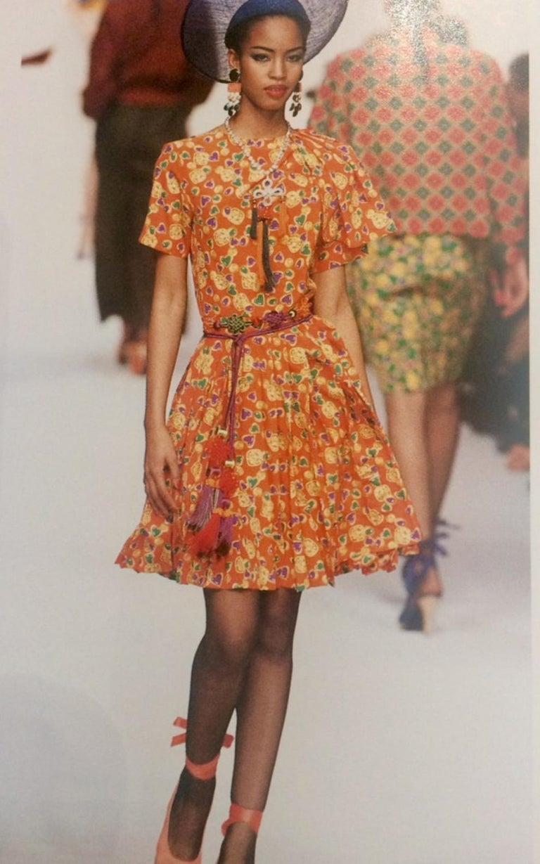 Yves Saint Laurent Multico Jewel Silk Dress Catwalk 1993s  For Sale 2