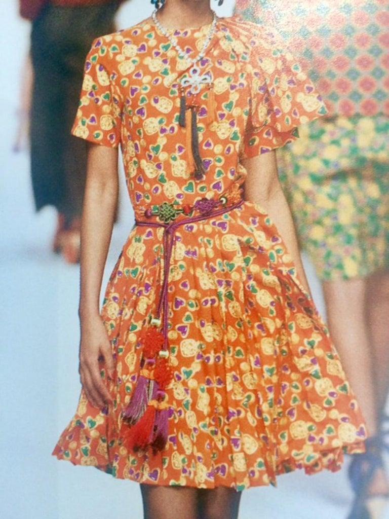 Yves Saint Laurent Multico Jewel Silk Dress Catwalk 1993s  For Sale 3