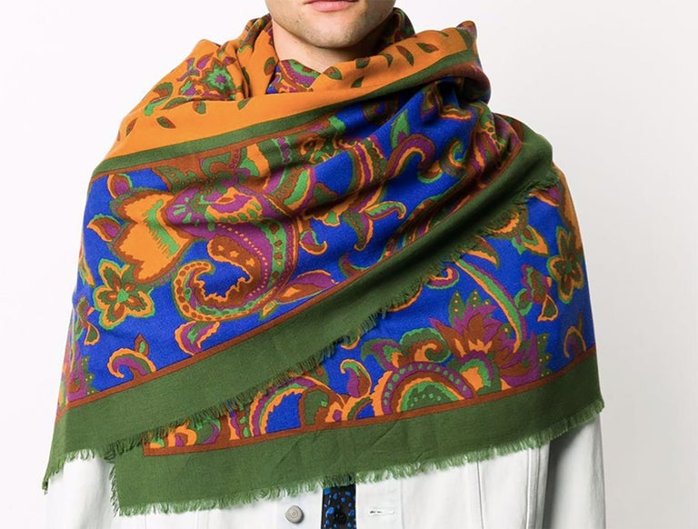 Yves Saint Laurent Multico Wool and Silk Maxi Scarf In Excellent Condition For Sale In Paris, FR