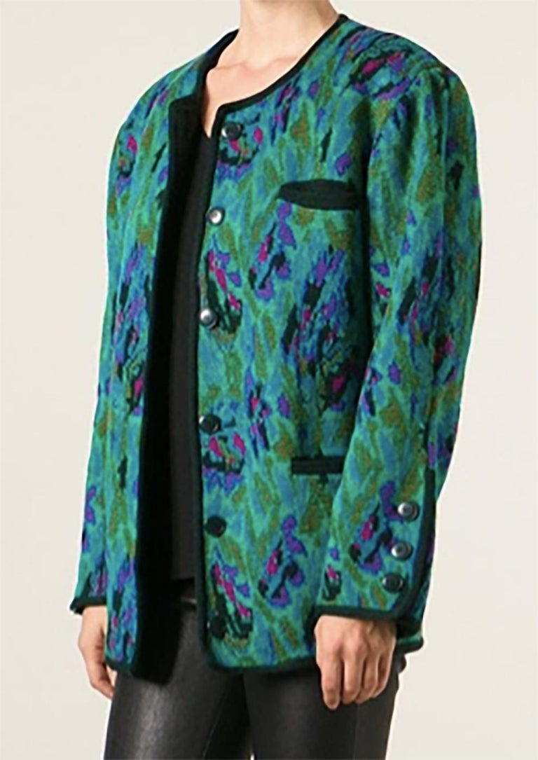 Yves Saint Laurent Multicolour Wool Jacquard Cardigan In Good Condition For Sale In Paris, FR