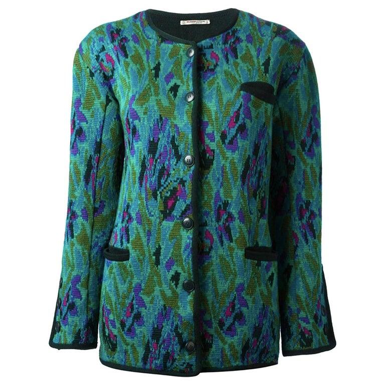 Yves Saint Laurent Multicolour Wool Jacquard Cardigan For Sale