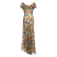 Yves Saint Laurent multicoloured floral printed silk chiffon maxi dress, ss 1972