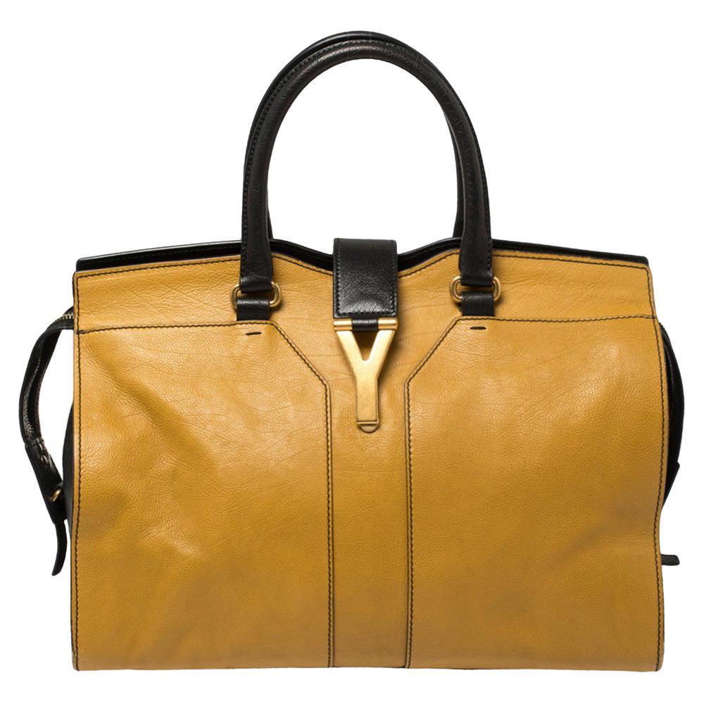 Yves Saint Laurent Mustard/Black Leather Medium Cabas Y-Ligne Tote