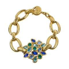 Yves Saint Laurent Naturalist Blue Jeweled Link Bracelet
