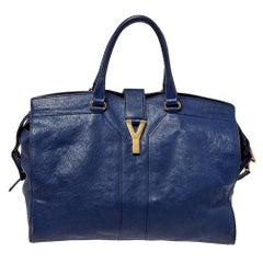 Yves Saint Laurent Navy Blue Leather Large Cabas Cabas Y-Ligne Tote