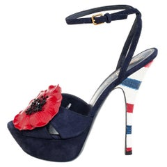 Yves Saint Laurent Navy Blue Suede Platform Ankle Strap Sandals Size 39