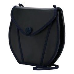 Yves Saint Laurent Navy Braided and Leather Bag