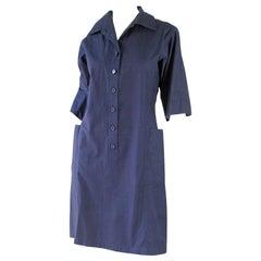 Yves Saint Laurent Navy Cotton Shirt Dress