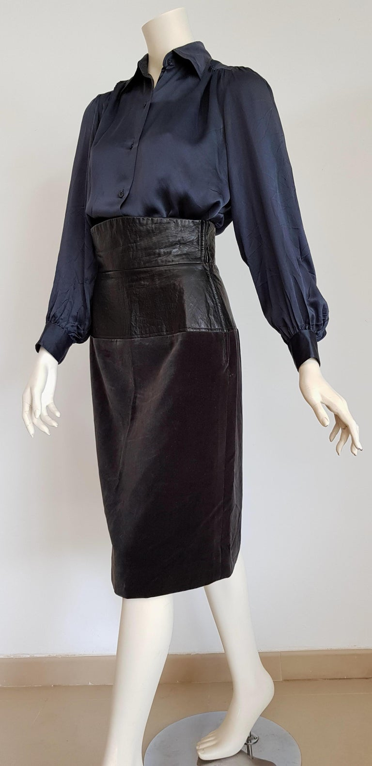 Yves SAINT LAURENT Silk Blue Tone Shirt and Leather Velvet Anthracite Grey Skirt Ensemble - Unworn, New. .. SIZE: equivalent to about Small / Medium, please review approx measurements as follows in cm.  SHIRT: lenght 73, chest underarm to underarm