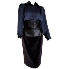 """Yves SAINT LAURENT """"New"""" Silk Shirt and Leather Velvet Skirt Ensemble - Unworn"""