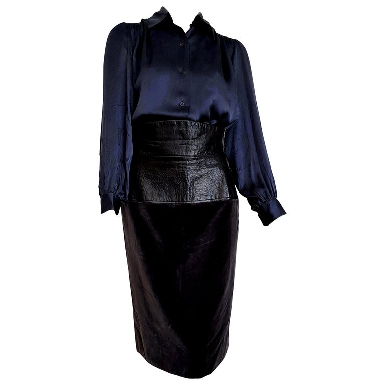 "Yves SAINT LAURENT ""New"" Silk Shirt and Leather Velvet Skirt Ensemble - Unworn  For Sale"