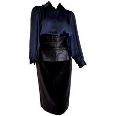 "Yves SAINT LAURENT ""New"" Silk Shirt and Leather Velvet Skirt Ensemble - Unworn"