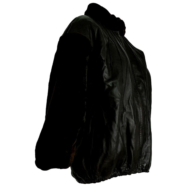 "Yves SAINT LAURENT ""New"" Sleeves Neck Beaver Lambskin Jacket Fur Lined - Unworn For Sale"