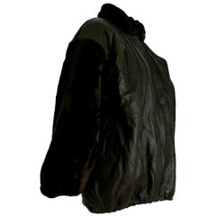 "Yves SAINT LAURENT ""New"" Sleeves Neck Beaver Lambskin Jacket Fur Lined - Unworn"