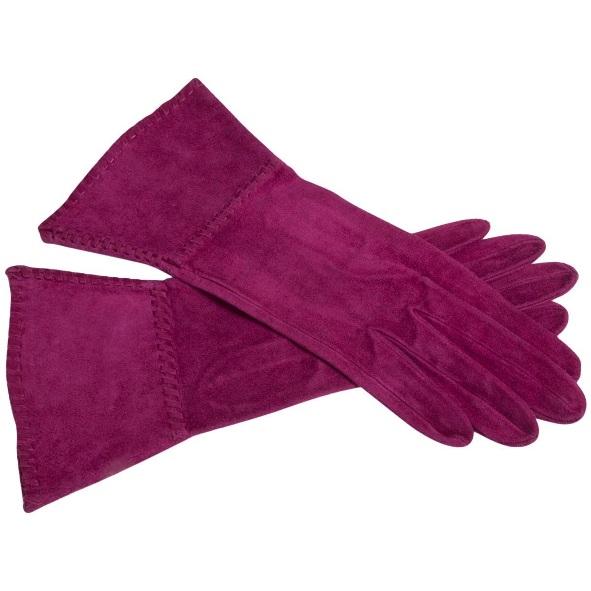 Yves Saint Laurent New Suede Gauntlet Gloves