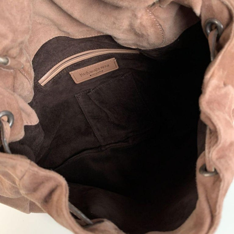Brown Yves Saint Laurent Nude Suede Nadja Rose Tote Shoulder Bag For Sale