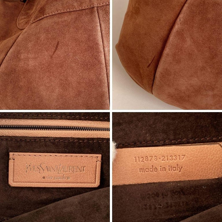 Yves Saint Laurent Nude Suede Nadja Rose Tote Shoulder Bag In Excellent Condition For Sale In Rome, Rome