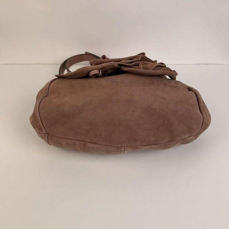 Women's Yves Saint Laurent Nude Suede Nadja Rose Tote Shoulder Bag For Sale