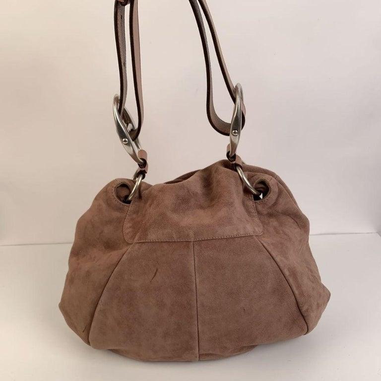Yves Saint Laurent Nude Suede Nadja Rose Tote Shoulder Bag For Sale 1