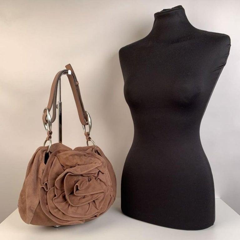 Yves Saint Laurent Nude Suede Nadja Rose Tote Shoulder Bag For Sale 2