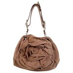 Yves Saint Laurent Nude Suede Nadja Rose Tote Shoulder Bag