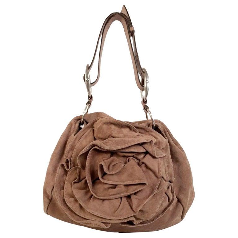 Yves Saint Laurent Nude Suede Nadja Rose Tote Shoulder Bag For Sale