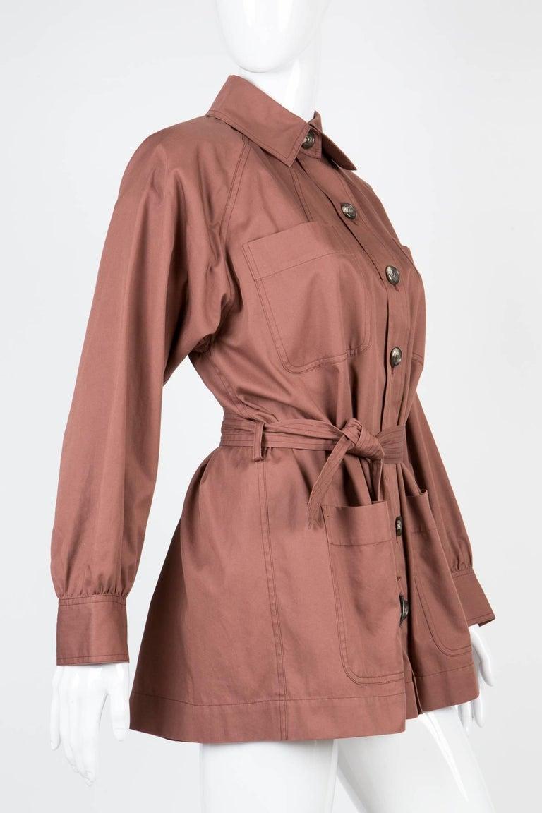 Brown Yves Saint Laurent Nut YSL Safari  Cotton Jacket For Sale