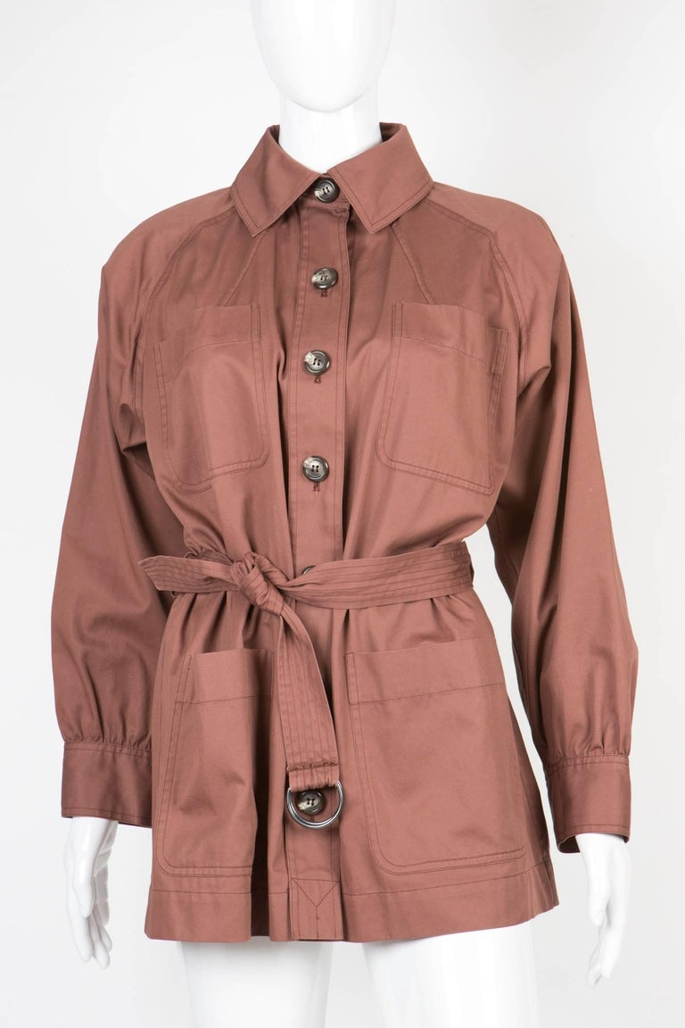 Yves Saint Laurent Nut YSL Safari  Cotton Jacket In Excellent Condition For Sale In Paris, FR
