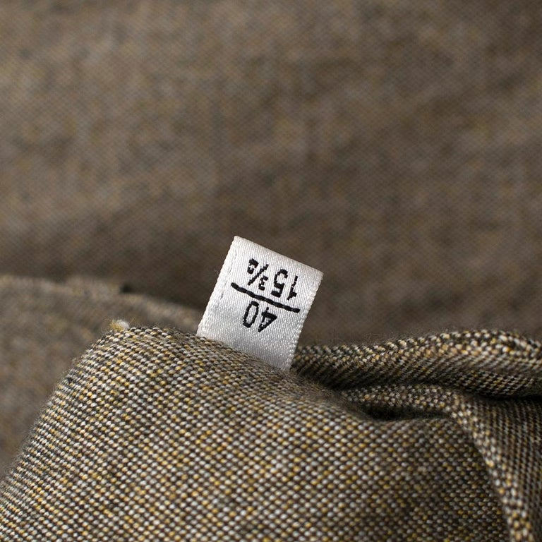 Yves Saint Laurent Olive Green Speckled Cotton Shirt 40 For Sale 1