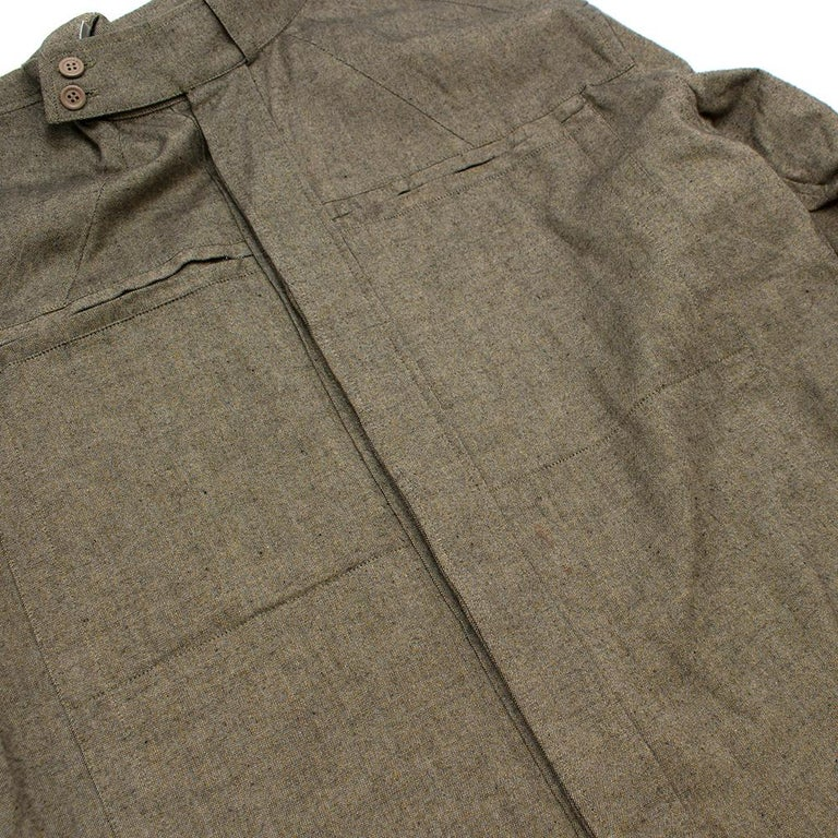 Yves Saint Laurent Olive Green Speckled Cotton Shirt 40 For Sale 3