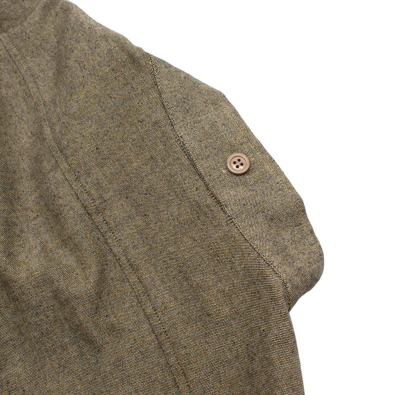 Yves Saint Laurent Olive Green Speckled Cotton Shirt 40 For Sale 5