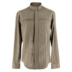 Yves Saint Laurent Olive Green Speckled Cotton Shirt 40
