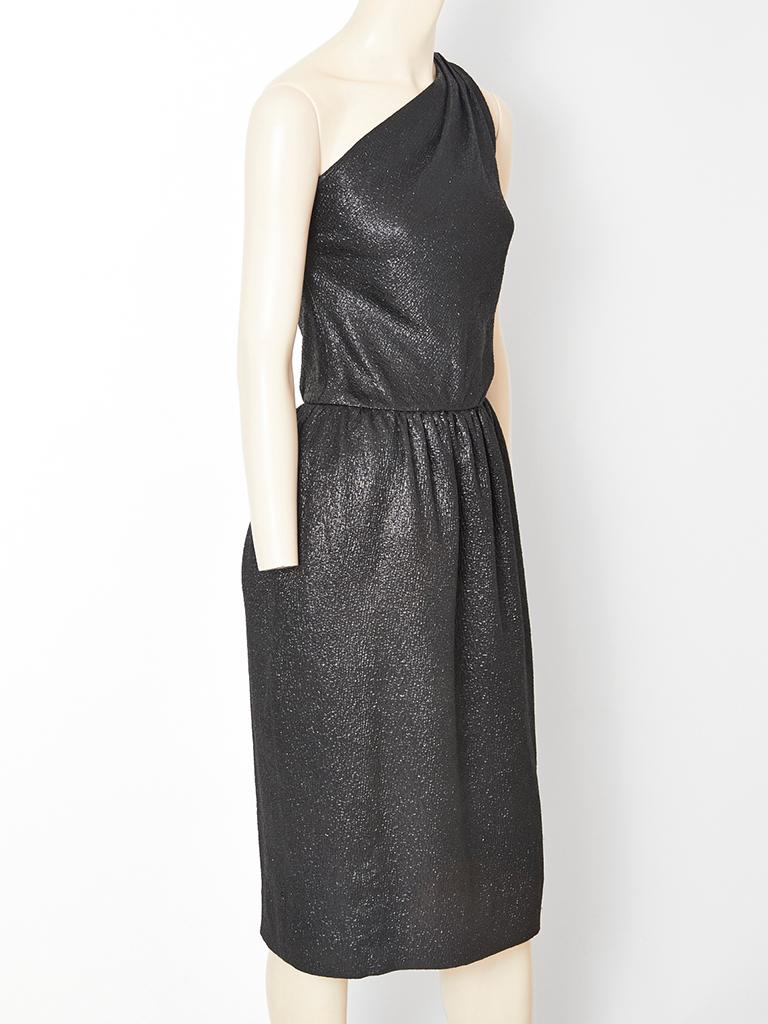 Black Yves Saint Laurent One Shoulder Cocktail Dress For Sale