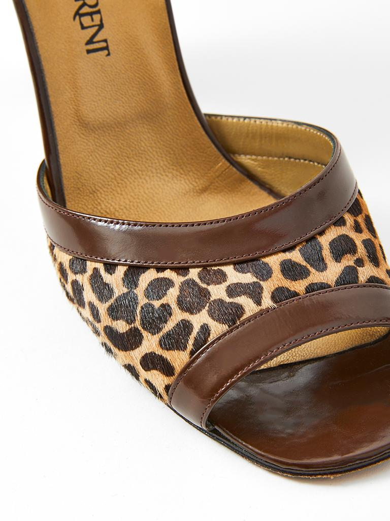 Yves Saint Laurent Open Toe Leopard Pattern Sandal In Good Condition For Sale In New York, NY