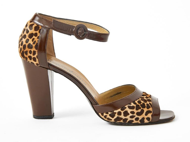 Women's Yves Saint Laurent Open Toe Leopard Pattern Sandal For Sale