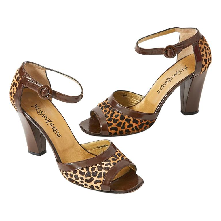 Yves Saint Laurent Open Toe Leopard Pattern Sandal For Sale