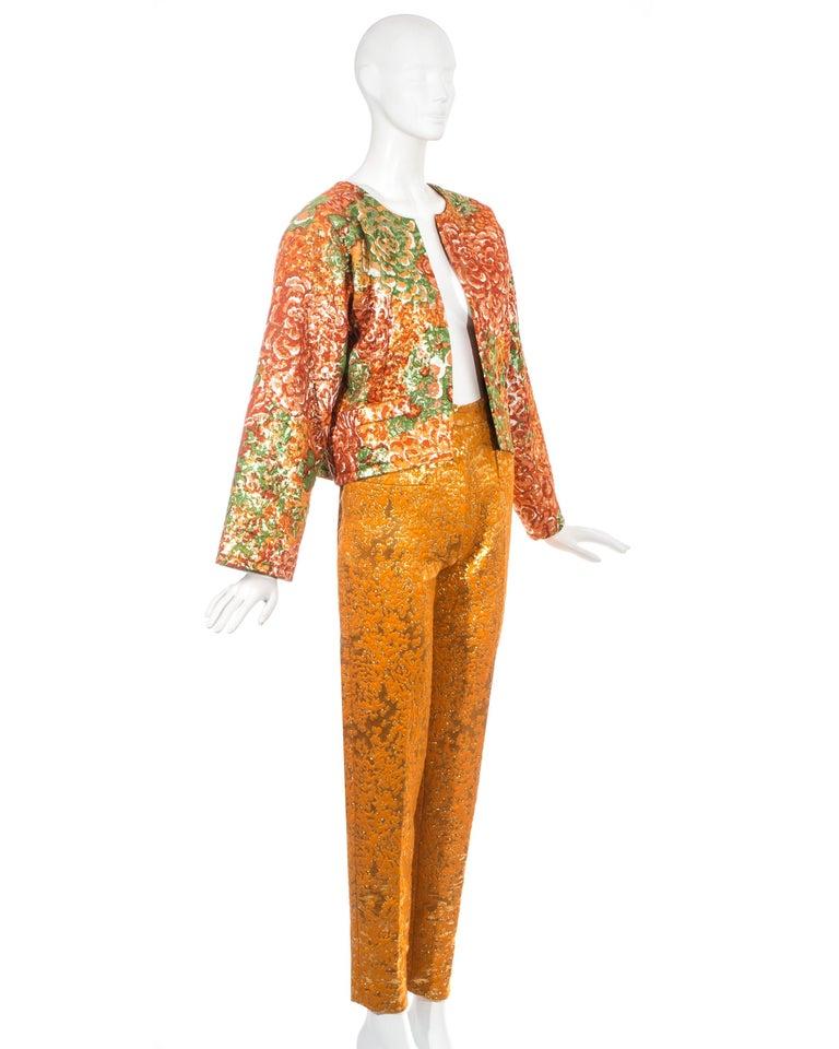 Orange Yves Saint Laurent orange metallic floral brocade evening pant suit, fw 1989 For Sale