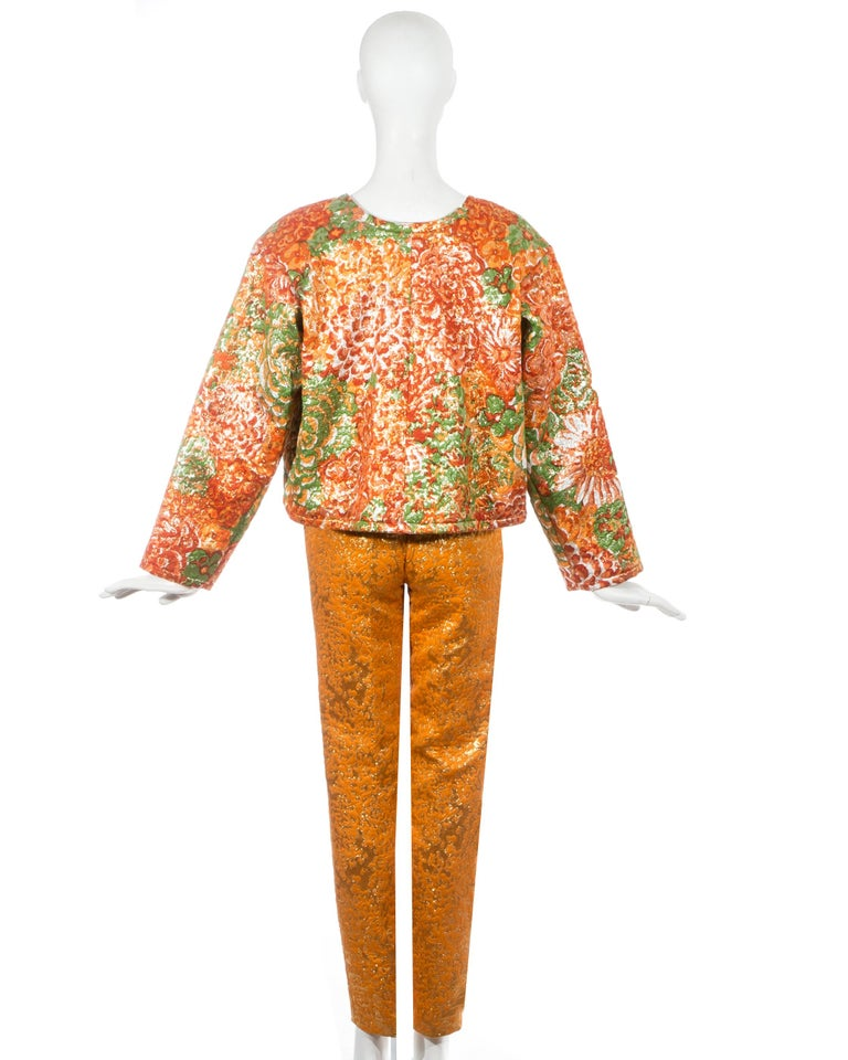 Yves Saint Laurent orange metallic floral brocade evening pant suit, fw 1989 In Excellent Condition For Sale In London, GB