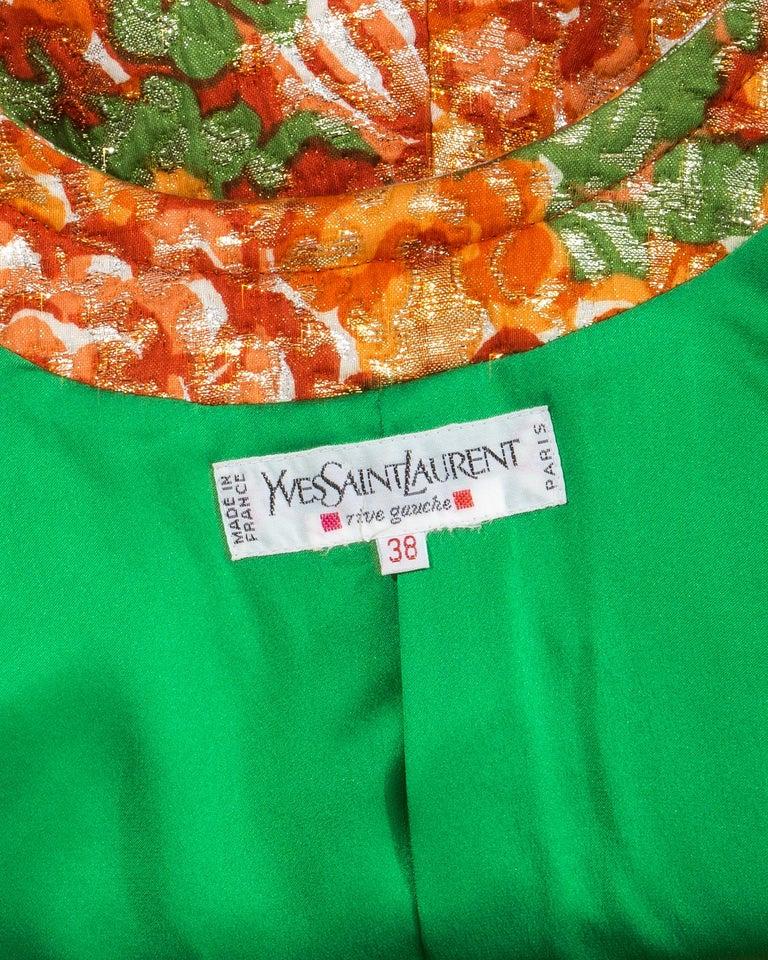 Women's Yves Saint Laurent orange metallic floral brocade evening pant suit, fw 1989 For Sale