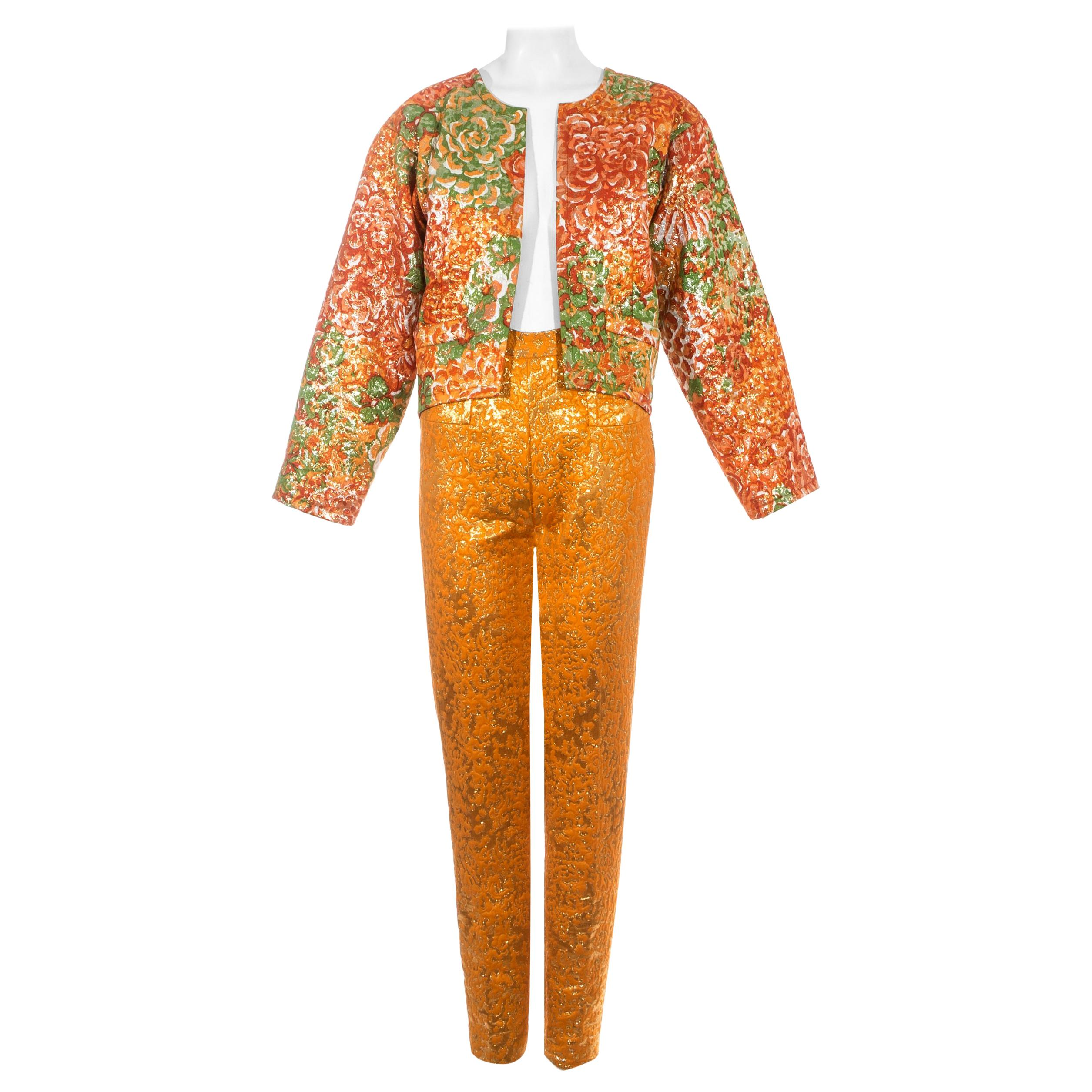 Yves Saint Laurent orange metallic floral brocade evening pant suit, fw 1989